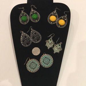 Jewelry - 5Pc BUNDLE VINTAGE LARGE DANGLE EARRINGS